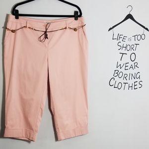 NWOT Liz&Co pink stretch cuffed capris, 18